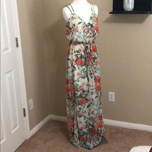 Elegant Guess Maxi Orange Floral w/ Slit Dress
